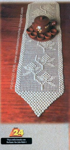 Crochet Table Runner, Crochet Tablecloth, Crochet Doilies, Thread Crochet, Filet Crochet, Knit Crochet, Crochet Kitchen, Crochet Home, Pinterest Crochet