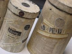 Boxes covered with old book pages  This is such a FUN look.  And very easy to create.  You can cover just about ANYTHING