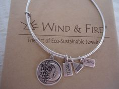 WIND AND FIRE I LOVE YOU TO THE MOON Charm Bangle Bracelet Silver Finish  W/ Box #WINDFIRE