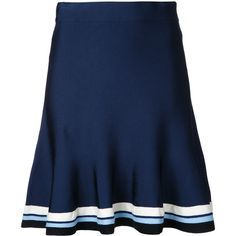Victoria Victoria Beckham striped hem flared skirt ($324) ❤ liked on Polyvore featuring skirts, blue, blue flared skirt, striped skirt, skater skirt, stripe skirt and blue skater skirt