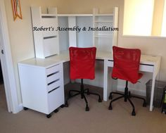 Corner set up for micke desk - I would probably do without the hutch and add the jules chairs instead