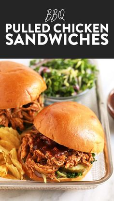 Slow Cooker BBQ Pulled Chicken No matter the time of year BBQ Pulled Chicken is the way to go for any gathering. So take out that crock pot and lets make the easiest slow cooker BBQ Pulled Chicken recipe of all time. Pulled Chicken Recipes, Pulled Chicken Sandwiches, Chicken Sandwich Recipes, Shredded Chicken Recipes, Crockpot Bbq Pulled Chicken, Pork Recipes, Crock Pot Chicken, Crispy Chicken Burgers, Pulled Pork Burger