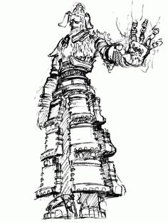 View an image titled 'Colossus Concept Art' in our Shadow of the Colossus art gallery featuring official character designs, concept art, and promo pictures. Armor Concept, Game Concept Art, Character Design References, Character Art, Character Inspiration, Nostalgic Art, Last Shadow, Fantasy Drawings, Creature Concept