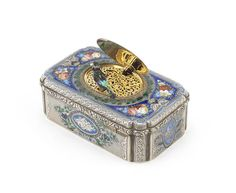 A Jacques Bruguier silver and enamel singing bird box, Swiss, circa 1835,