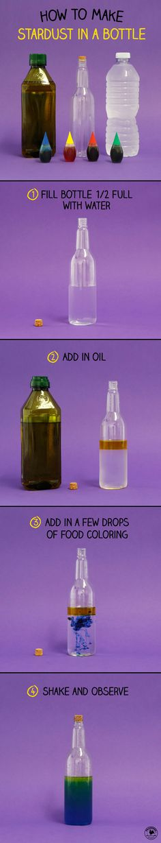 "Will water and oil mix or separate? Find out with this DIY ""potion"" bottle science experiment."
