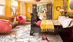 Kelly Wearstler for The Rug Co. I love the Sunshine Walls and the Pretty in Pink Chairs!