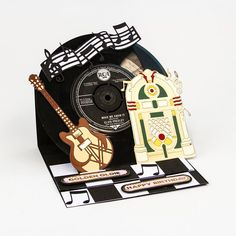 Tonic studio Rococo Electric guitar and Jukebox. Fun Fold Cards, Pop Up Cards, Folded Cards, Birthday Cards For Men, Handmade Birthday Cards, Musical Cards, Tonic Cards, Easel Cards, Men's Cards