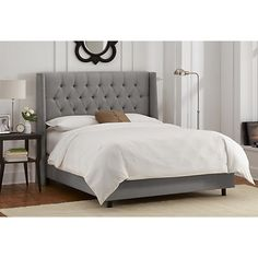 Alex Tufted Wingback Bed, Gray Linen $935.00