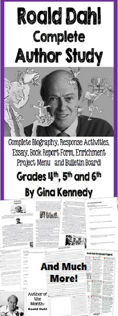 Roald Dahl Author Study, Biography, Reading Response Activities, Projects, More! Reading Response Activities, Reading Comprehension Skills, Reading Strategies, Reading Resources, Roald Dahl Activities, Book Activities, Library Lesson Plans, Library Lessons, World Book Day Ideas