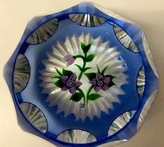 STUNNING RARE JOHN DEACONS PURPLE FLOWER BOUQUET FACETED GLASS PAPERWEIGHT