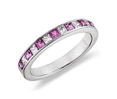 Channel Set Princess Cut Pink Sapphire and Diamond Ring, it came today. I love it.