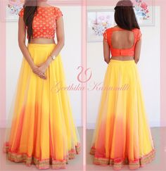 Can hv closed back with saffron dupatta tied saree style .for lehenga have color order as:(top to bottom) yellow orange red. Indian Attire, Indian Wear, Indian Style, Indian Dresses, Indian Outfits, Women's Dresses, Wedding Dresses, Desi Clothes, Indian Clothes