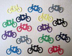 Tandem Bicycle Wedding Confetti Die Cut Bike For by WhimseyDimples