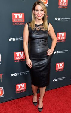Celebrities In Leather: Candace Cameron wears a black leather dress