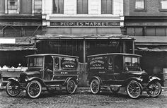 Two Model T Ford delivery vehicles.