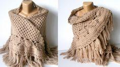 light brown shawlecru2012 crochet trendssoftwarmwinter by seno, $85.00