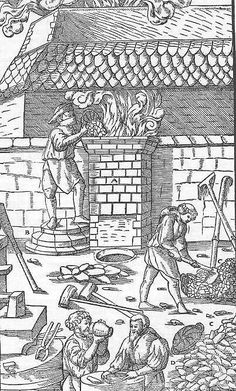 From the same work, operation of a larger size iron smelting furnace. Notice the small pit in front, into which the slag was tapped. The bellows, probably water operated are not shown, but there is part of a trip hammer in the left foreground. A melt in a furnace like this would take between 8 and 12 hours according to Agricola