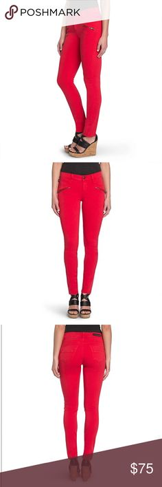 Rock and Republic Red skinny jeans Brand new no tags Anything but ordinary. Make your mark in these women's denim leggings from Rock & Republic, featuring bold zipper details. In red wash. Rock & Republic Jeans Skinny