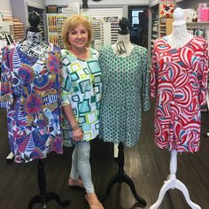 We LOVE seeing what our talented customers sew up with their Girl Charlee Fabrics, like these stunning tunics and dresses from Carol McKinney of mckinneysewandvac.com! Shop one-of-a-kind knit fabrics today at girlcharlee.com and if you're near Greensboro, NC, be sure to take one of Carol's sewing with knits classes! repin