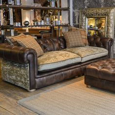 Leather Couch With Fabric Cushions Furniture Cushions