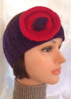 Purple Head Band Purple Ear Warmer Flower Ear Warmer Purple Headband Flower Headband Poppy Head Band - pinned by pin4etsy.com