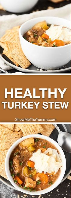 This Healthy Turkey Stew Recipe is full of lean turkey, loads of veggies, and is made in your slow cooker! An easy, healthy, hearty meal for chilly fall days! showmetheyummy.com #stew #healthy
