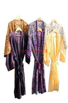 Woman's Vintage Silk Sari Kimono Bathrobe Beach Wear Jacket Wholesale Lot 20Pcs #Handmade #Kimono
