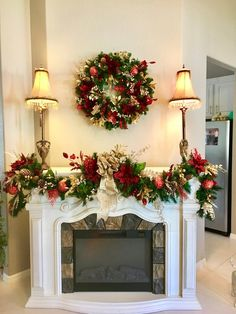 60 Awesome Fireplace Christmas Decoration To Makes Your Home Keep Warm. What thoughts come to your mind when you think of holiday decorating ideas for Christmas? Decorating fireplace mantels is a favo. Christmas Mantels, Noel Christmas, Christmas Wreaths, Christmas Crafts, Christmas Fireplace Garland, Etsy Christmas, Pre Lit Christmas Garland, Christmas Lights, Christmas Ornaments