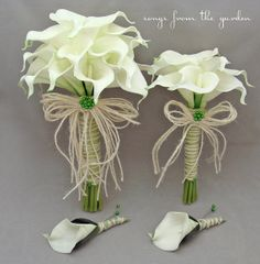 Wedding Flowers Real Touch Calla Lily Bridal Bouquet Maid of Honor Bouquet Groom's Boutonniere in White with Jute Twine Bow Apple Green Pins