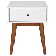 Porter Mid Century Modern Two-Tone Side Table -White/Brown : Target