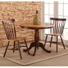 International Concepts Piperton 36 in. Round Pedestal Dining Table Set with 2 Copenhagen Chairs, Brown