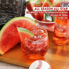 The Smirnoff Ice All Season All-Star is the easy and delicious drink that's perfect all baseball season long. Just open one Smirnoff ICE Watermelon Mimosa, pour over ice and garnish with watermelon.