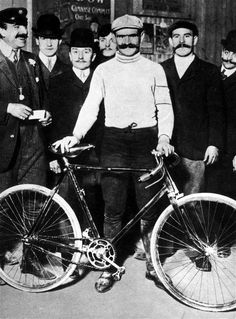 Forget Lycra, this 1900's man just needed handle-bar moustache