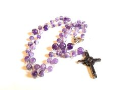 Amethyst Rosary Purple Rosary Gemstone by DCArtandPhotography