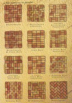Brick patterns- inspiration for wine cork trivet patterns Mehr Wine Cork Projects, Wine Cork Crafts, Wine Cork Trivet, Brick Projects, Wine Cork Table, Wine Cork Boards, Champagne Cork Crafts, Brick Crafts, Wine Cork Art