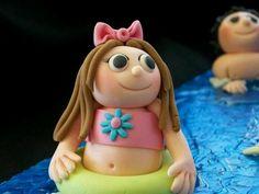 Water slide cake people