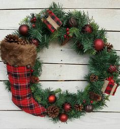 Check out this item in my Etsy shop https://www.etsy.com/listing/487394406/christmas-wreath-stocking-wreath