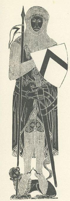 Brass of Sir John Daubernoun in his armour, dated 1277 In Surrey. Crusader armor. Ashmolean image.