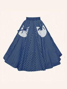 1950s Circle Skirt Navy White Spot ($74)