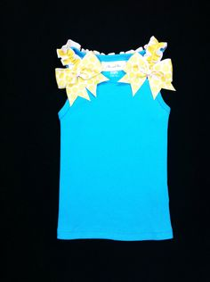 Children Clothing Back to School Clothing Girls Turquoise Tank with Yellow Ruffles