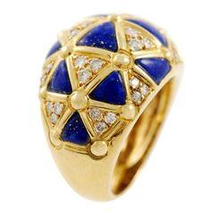 VAN CLEEF & ARPELS Gold Diamond and Lapis Ring | 1stdibs.com