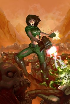 Remember the famous cover of the first DOOM-game? So here's a little update. Old pose, female Spacemarine and some monsters from the upcoming DOOM! Can't wait......