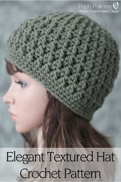 Crochet Pattern - This gorgeous textured crochet hat pattern is super simple to crochet and makes a perfect accessory for the cooler months. Includes 7 sizes. By Posh Patterns. #CrochetPatternsForBoys