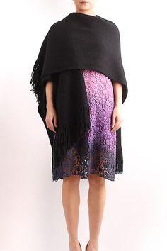 Knit poncho, wool poncho, handmade poncho, women poncho, fringe knit poncho, black knit poncho, black knit cape, black fringe knit poncho