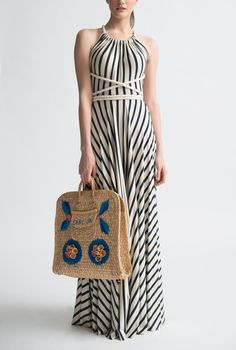 Little French Stripe Rope Halter Gown