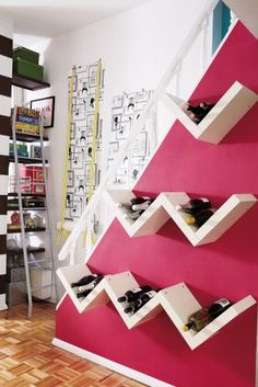 Tell me how to DIY bookshelves into ZigZag wine holders. So want to do this downstairs.    http://www.houzz.com/photos/768313/Living-in-a-Nutshell-by-Janet-Lee-eclectic-staircase-