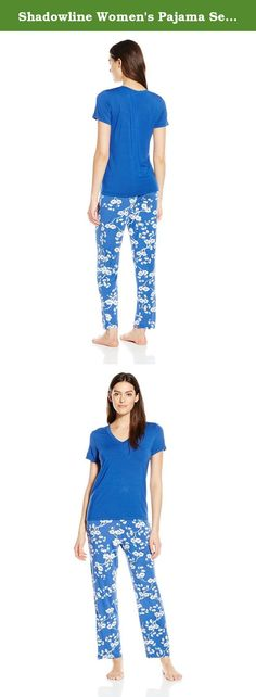 Shadowline Women's Pajama Set-Soft, Short Sleeve Tee and Pj Pants, Blue, Medium. Women's short sleeve pajama set from Shadowline is made with comfort fit modal and spandex fabric that is extremely soft and lightweight. These comfy ladies pajamas feature a solid, short sleeve, v-neck t-shirt, and floral patterned long pants. The flower print and bold color enhances the feminine and stylish shape. It is a perfect gift for any woman! this silky-smooth PJ set is part of the Shadowline…