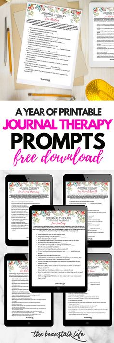 How Journal Therapy Can be Used for Healing and Self Discovery { A Year of FREE Journal Prompts} These journal therapy prompts I have compiled are to help your brain think differently helping you ask different questions so you can change your focus and get different answers. Explore prompts for personal growth, personal discovery, self love, healing, and relationships. The Beanstalk Life #thebeanstalklife #journalprompts #therapyjournals #bulletjournaling