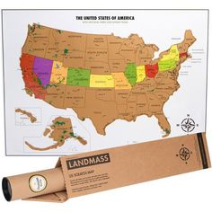 Scratch your travels with this gorgeous original watercolor world landmasss scratch off usa map with national parks capitals and highest peaks gumiabroncs Image collections