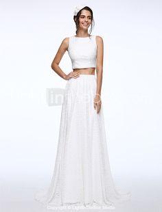 Lanting Bride® Linha A Vestido de Noiva Cauda Escova Decorado com Bijuteria Renda com Botão de 2016 por R$371.77